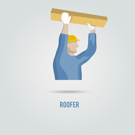 roofer: Roofer male carpenter with wooden plank and helmet decorative icon isolated vector illustration