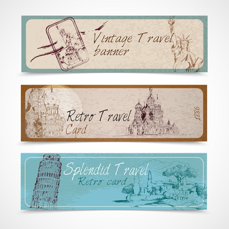 splendid: World landmark vintage retro splendid travel card banners set isolated vector illustration.