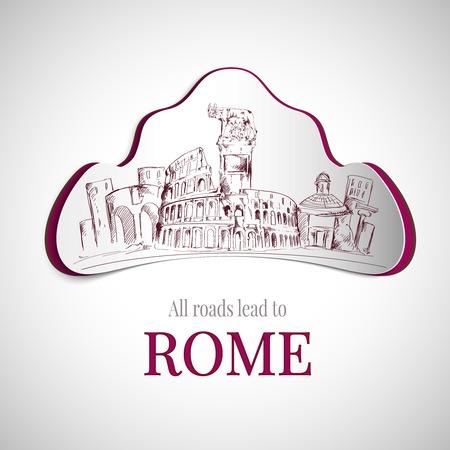 Roma città emblema con Colosseo e vecchi edifici della città illustrazione vettoriale