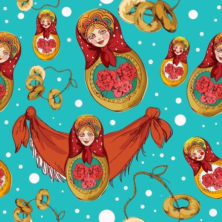 kerchief: Russian traditional matryoshka folk doll seamless pattern vector illustration Illustration