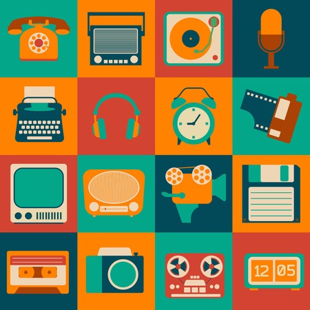 Vintage retro gadgets icons set of microphone telephone typewriter isolated vector illustration Vector