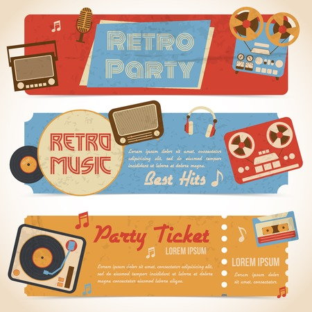 cassette tape: Retro music party ticket banners with analog gadgets isolated vector illustration Illustration