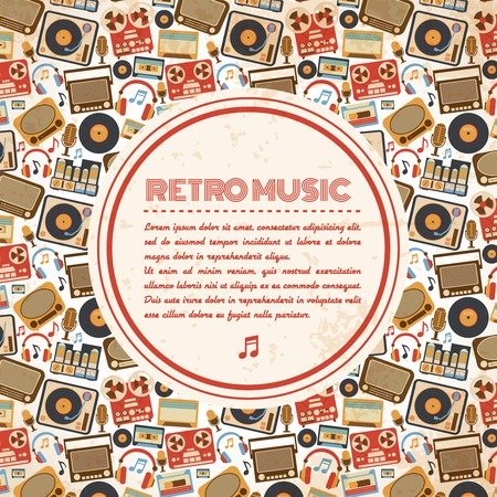Retro music poster with vintage radio tape recorder old microphone icons vector illustration Vector