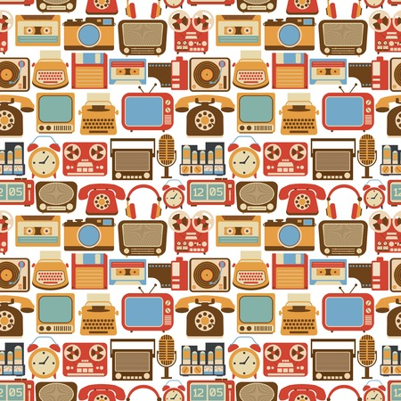 Vintage retro gadgets seamless pattern with radio vinyl player alarm clock isolated vector illustration Vector