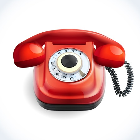 antique telephone: Retro style red color telephone with wire connection isolated on white background vector illustration