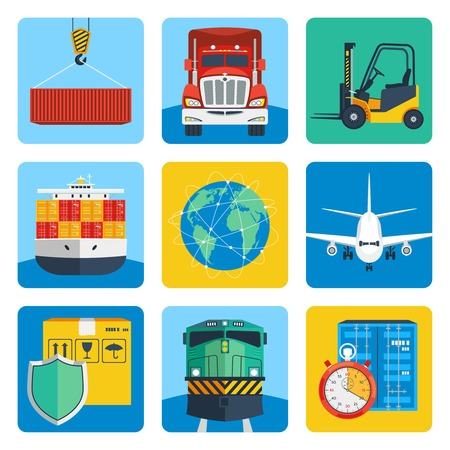 Logistic shipping delivery service realistic icons set isolated vector illustration Vector