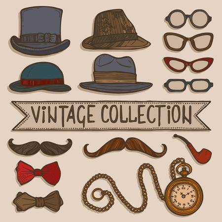 Vintage gentleman set of hats glasses mustaches and tobacco pipe stickers isolated vector illustration Vector