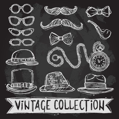 Vintage gentleman set of hats glasses mustaches and bow tie decorative elements isolated vector illustration Vector