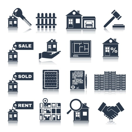 commercial real estate: Real estate black icons set of house apartment and commercial property isolated vector illustration
