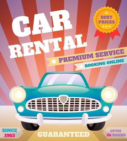 Car rental premium service automobile advertising retro poster vector illustration Illustration