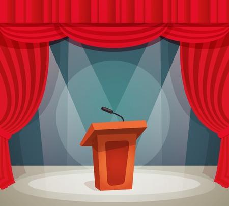 hablar en publico: Tribune con micrófono en foco de un escenario con telón rojo de fondo ilustración vectorial.