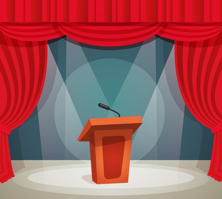 speaking: Tribune with microphone in spotlight on stage with red curtain background vector illustration.