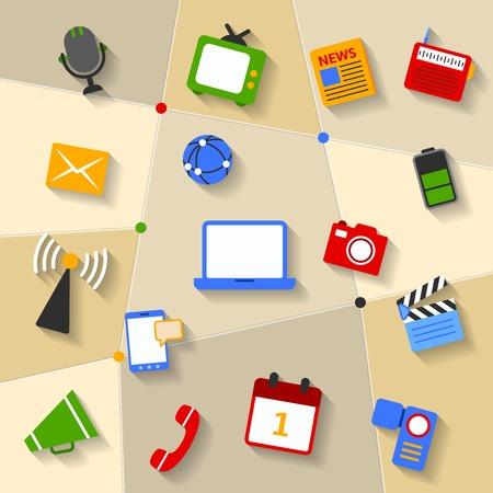 filming: Social media newspaper radio tv mobile decorative distinctive design pictograms symbols collection set vector illustration