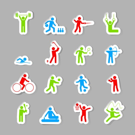 gymnastics equipment: Decorative gymnastics soccer volley ball sport competitions design network symbols pictograms collection flat isolated vector illustration Illustration