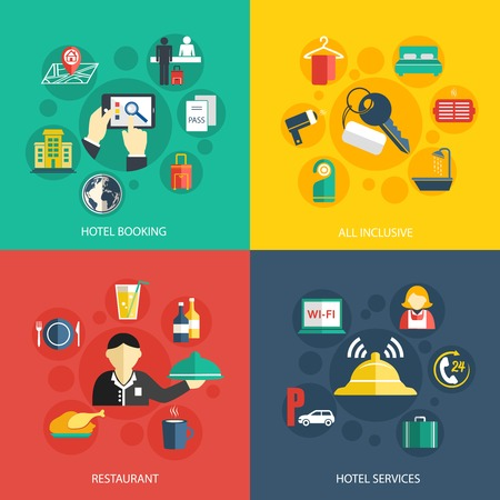 building industry: Hotel accommodation services concept flat icons set of room booking business trip restaurant food and reception bell for infographics design web elements vector illustration
