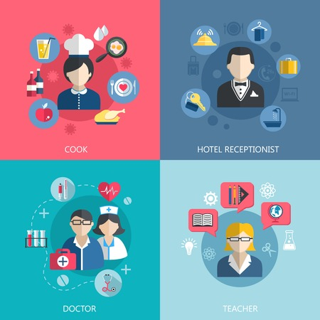 профессий: Люди профессии концепт плоские набор кухонных врач администратор отеля и школьный учитель рабочих мест для инфографика дизайна веб-элементы векторные иллюстрации иконки