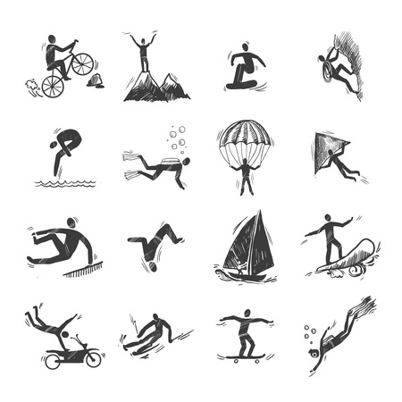 Extreme sports icons sketch of diving climbing sailing isolated doodle vector illustration Vector