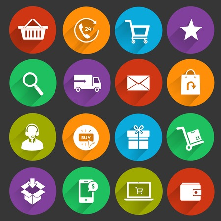 E-commerce shopping icons flat set of customer service shipping buying isolated vector illustration Vector