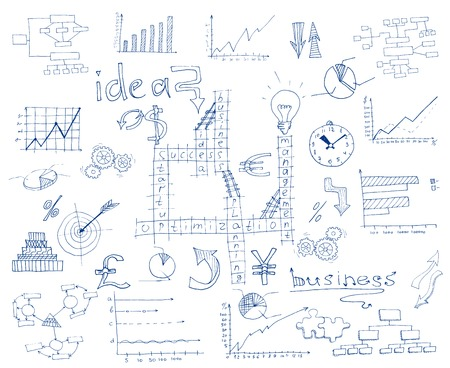 doddle: Abstract paper sketch pen drawn business infographic doddle elements vector illustration