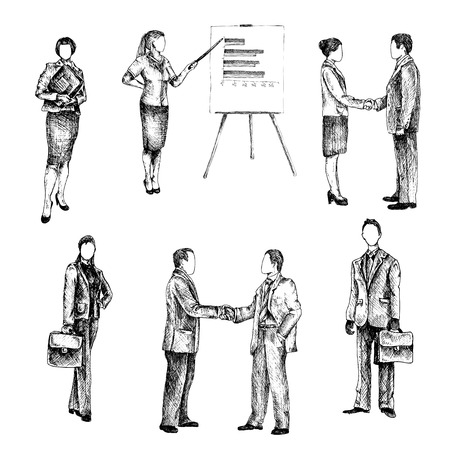 business partnership: Business male female people sketch set isolated vector illustration