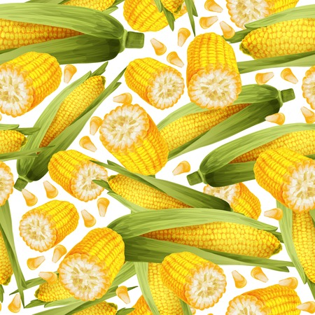 corn stalk: Vegetable organic food realistic yellow corn stalk seamless pattern vector illustration.