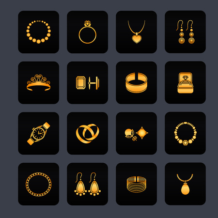 cuff link: Jewelry black icons set of diamond gold fashion precious treasures isolated vector illustration