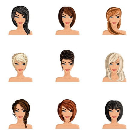 head phones: Young woman girl avatars set with haircut styles isolated vector illustration