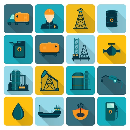 Oil extraction refining and petroleum production industry with tanker transportation ship symbols icons set flat vector illustration Vector
