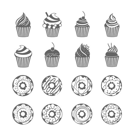 Food sweets  donut with glaze and cupcake with cream black icons set isolated vector illustration Vector
