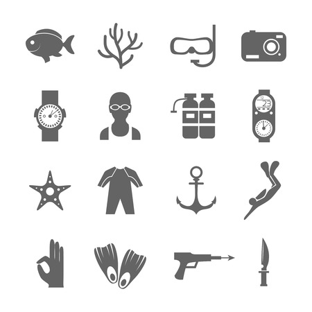 activity icon: Diving scuba black silhouette icons set of underwater sport symbols isolated vector illustration.