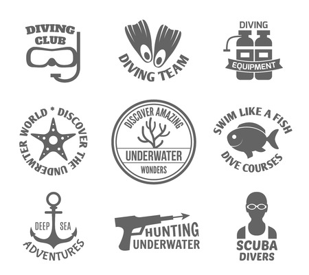 deep sea fishing: Diving club team equipment underwater world discover labels set isolated vector illustration.