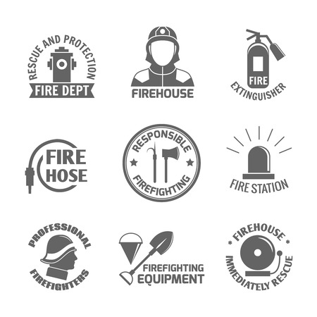 Firefighting rescue and protection fire department firehouse extinguisher label set isolated vector illustration Vector