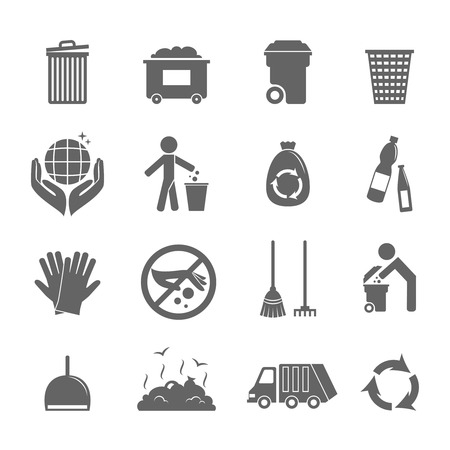 Garbage vuilnis recycling milieu-hygiënische symbolen zwarte pictogrammen set geïsoleerde vector illustratie