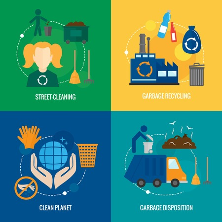 cleaning planet: Garbage disposition street cleaning recycling icons set isolated vector illustration