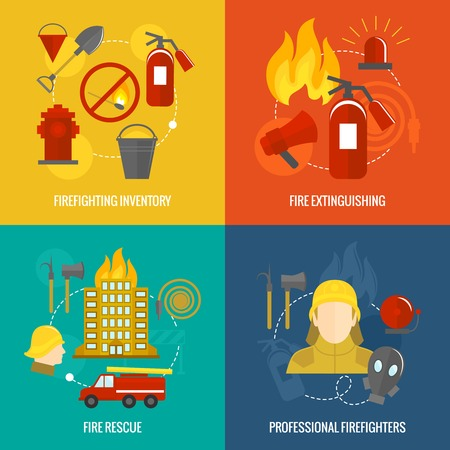 fire extinguisher symbol: Firefighting icons  inventory extinguishing fire rescue professional composition isolated vector illustration