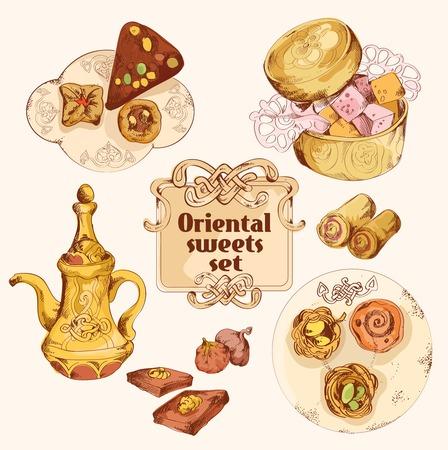 turkish dessert: Oriental arabian turkish pastry colored sweet dessert sketch set isolated vector illustration.