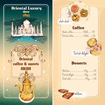 Oriental asian luxury coffee and traditional sweet desserts menu vector illustration