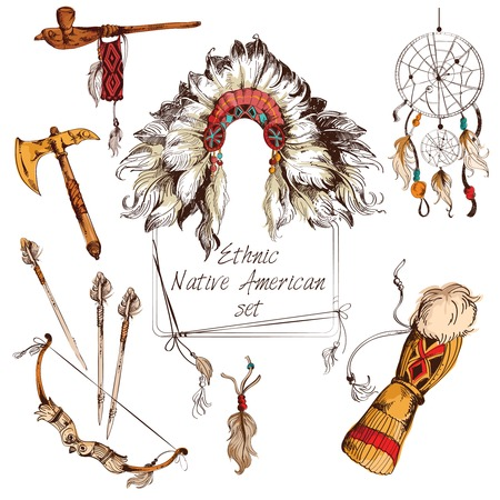tomahawk: Ethnic native american indian tribal chief sketch colored decorative elements set isolated vector illustration