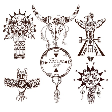 tribu: Elementos decorativos dibujados étnico tribus americanas tótems animales mano conjunto aislado ilustración vectorial Vectores