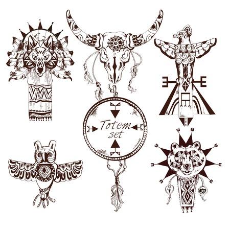 totem indien: �l�ments d�coratifs �labor�s ethnique des tribus am�ricaines animaux totems main ensemble isol� illustration vectorielle