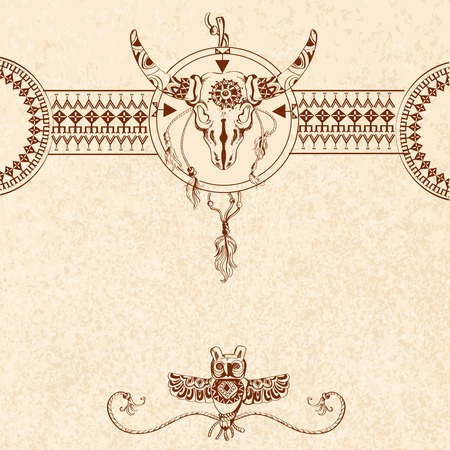 apache: Tribal sketch background with bull skull and owl animal traditional totem vector illustration