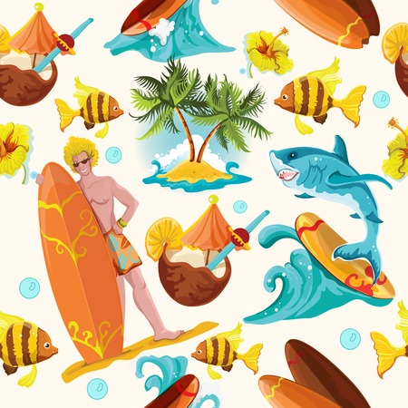 beach wrap: Beach surfing summer seamless background with surfer shark and palm island vector illustration