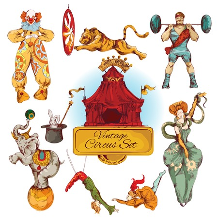 Decoratieve circus magic fee toverstaf en clown truc ontwerp vintage pictogrammen set doodle kleur schets vector illustratie Stock Illustratie