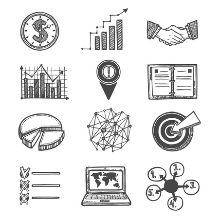 business deal: Sketch strategy and management icons set isolated vector illustration.