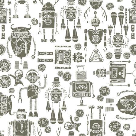 인간형: 정보통 로봇 복고 인간형 기계 흑백 원활한 패턴 벡터 일러스트 레이 션. 일러스트