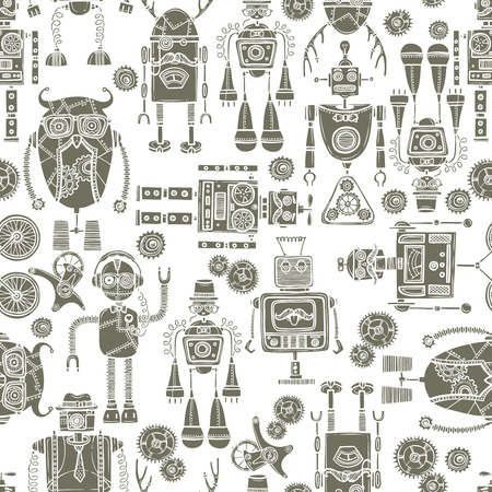 humanoid: Hipster robot retro humanoid machinery black and white seamless pattern vector illustration.