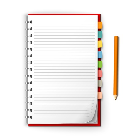 Realistic white lined notepad with bookmark reminders and pencil isolated on white background vector illustration Illustration