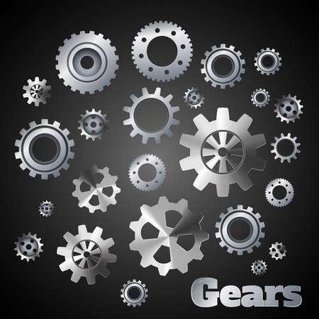 Metal cogwheel gears mechanisms industrial engineers poster vector illustration Vector