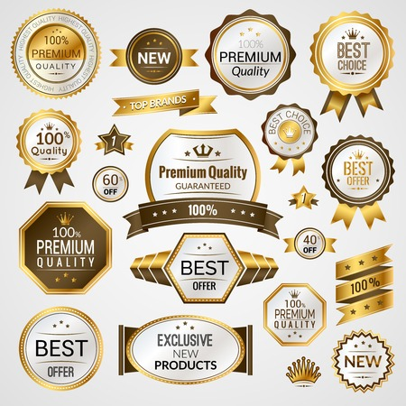 label frame: Luxury golden premium quality best choice labels set isolated vector illustration