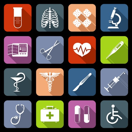 symbol of pharmacy: Medical emergency first aid care icons flat set with syringe heart vaccine isolated vector illustration